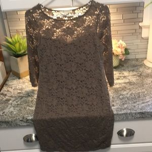 Brown/gray tight lace dress